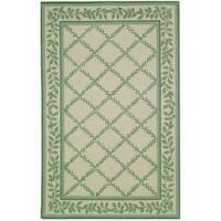 Safavieh Hand-hooked Trellis Ivory/ Light Green Wool Rug - 5'3 x 8'3