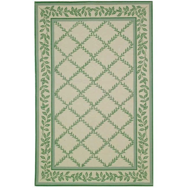 Safavieh Hand-hooked Trellis Ivory/ Light Green Wool Rug (6' x 9')