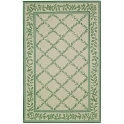 Safavieh Hand-hooked Trellis Ivory/ Light Green Wool Rug (6' x 9')