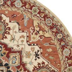 Safavieh Hand-hooked Heriz Red/ Ivory Wool Rug (5'6 Round)