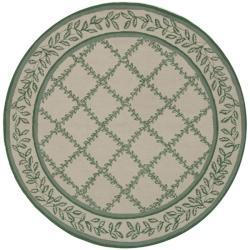 Safavieh Hand-hooked Trellis Ivory/ Light Green Wool Rug (5'6 Round)