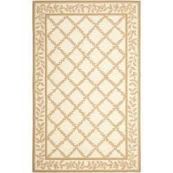 Safavieh Hand-hooked Trellis Ivory/ Beige Wool Rug (3'9 x 5'9)