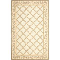 Safavieh Hand-hooked Trellis Ivory/ Beige Wool Rug - 7'6 x 9'9 - Thumbnail 0