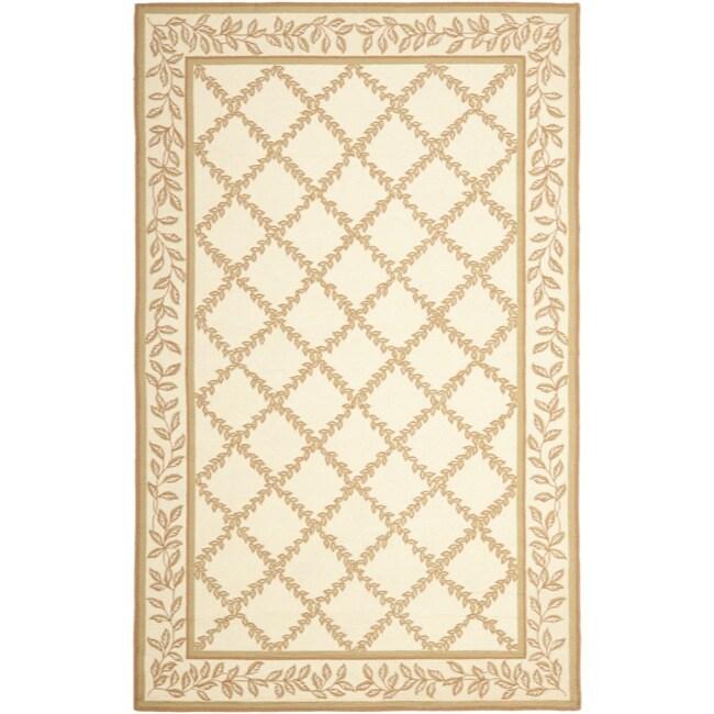 Shop Linon Moroccan Mekenes Camel Brown Rug: Shop Safavieh Hand-hooked Trellis Ivory/ Beige Wool Rug