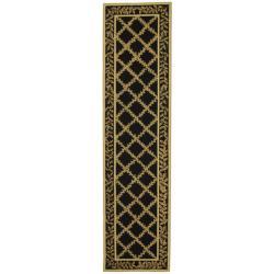 Safavieh Hand-hooked Trellis Black/ Beige Wool Rug (2'6 x 10')
