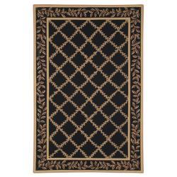 Safavieh Hand-hooked Trellis Black/ Beige Wool Rug (5'3 x 8'3)