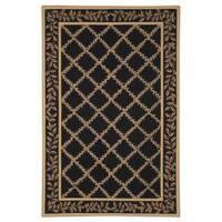 Safavieh Hand-hooked Trellis Black/ Beige Wool Rug - 7'6 x 9'9