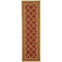 Safavieh Hand-hooked Trellis Rust/ Beige Wool Rug (2'6 x 10')