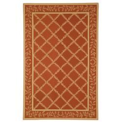 Safavieh Hand-hooked Trellis Rust/ Beige Wool Rug (3'9 x 5'9)