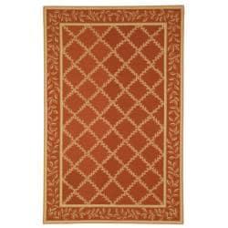 Safavieh Hand-hooked Trellis Rust/ Beige Wool Rug (5'3 x 8'3)