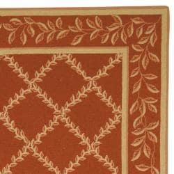 Safavieh Hand-hooked Trellis Rust/ Beige Wool Rug (6' x 9') - Thumbnail 1
