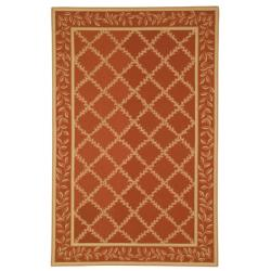 Safavieh Hand-hooked Trellis Rust/ Beige Wool Rug - 7'6 x 9'9 - Thumbnail 0