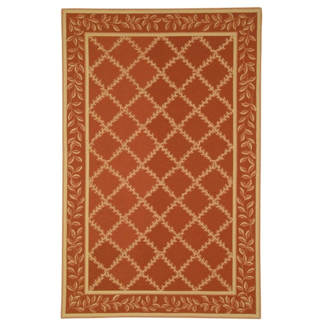 Safavieh Hand-hooked Trellis Rust/ Beige Wool Rug - 8'9 X 11'9