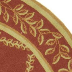 Safavieh Hand-hooked Trellis Rust/ Beige Wool Rug (3' Round) - Thumbnail 1
