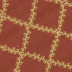 Safavieh Hand-hooked Trellis Rust/ Beige Wool Rug (3' Round) - Thumbnail 2