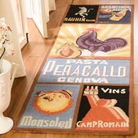 """Safavieh Hand-hooked Vintage Poster Black Wool Rug - 2'6"""" x 6'"""
