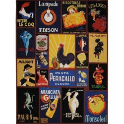 Safavieh Hand-hooked Vintage Poster Black Wool Rug - 7'6 x 9'9 - Thumbnail 0