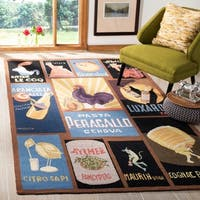 """Safavieh Hand-hooked Vintage Poster Black Wool Rug - 7'9"""" x 9'9"""""""