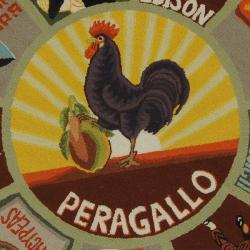 Safavieh Hand-hooked Vintage Poster Sage Wool Rug (6' x 9') - Thumbnail 2