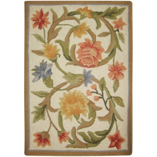 Safavieh Hand Hooked Garden Scrolls Ivory Wool Rug 1 8 X