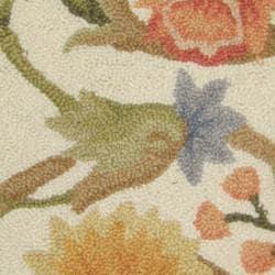 Safavieh Hand-hooked Garden Scrolls Ivory Wool Rug (1'8 x 2'6) - Thumbnail 2