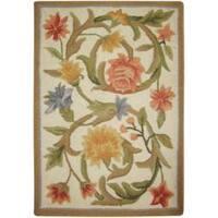 Safavieh Hand-hooked Garden Scrolls Ivory Wool Rug - 1'8 x 2'6