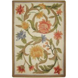Safavieh Hand Hooked Garden Scrolls Ivory Wool Rug (1u00278 X ...