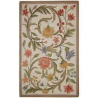 Safavieh Hand-hooked Garden Scrolls Ivory Wool Rug - 2'9 x 4'9