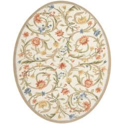 Safavieh Hand-hooked Garden Scrolls Ivory Wool Rug (4'6 x 6'6 Oval)