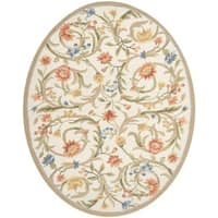 Safavieh Hand-hooked Garden Scrolls Ivory Wool Rug (4'6 x 6'6 Oval) - 4'6' x 6'6 oval