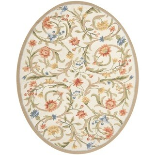 "Safavieh Hand-hooked Garden Scrolls Ivory Wool Rug - 4'6"" x 6'6"" oval"