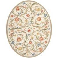 Safavieh Hand-hooked Garden Scrolls Ivory Wool Rug - 7'6 x 9'6