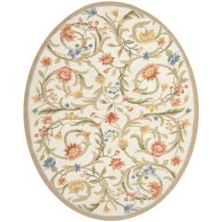 Safavieh Hand-hooked Garden Scrolls Ivory Wool Rug (7'6 x 9'6 Oval) - 7'6 x 9'6