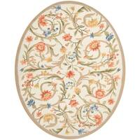 "Safavieh Hand-hooked Garden Scrolls Ivory Wool Rug - 7'6"" x 9'6"" oval"