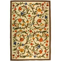 Safavieh Hand-hooked Garden Scrolls Ivory Wool Rug - 7'6 x 9'9 - Thumbnail 0