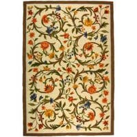 "Safavieh Hand-hooked Garden Scrolls Ivory Wool Rug - 7'-9"" X 9'-9"""