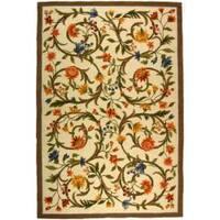 Safavieh Hand-hooked Garden Scrolls Ivory Wool Rug - 8'9 X 11'9