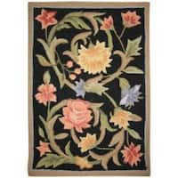 Safavieh Hand-hooked Garden Scrolls Black Wool Rug - 1'8 x 2'6