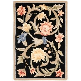"Safavieh Hand-hooked Garden Scrolls Black Wool Rug - 1'8"" x 2'6"""