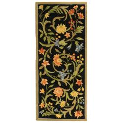 Safavieh Hand-hooked Garden Scrolls Black Wool Rug (2'6 x 10')