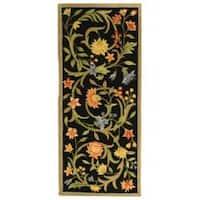 "Safavieh Hand-hooked Garden Scrolls Black Wool Rug - 2'6"" x 6'"