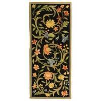 Safavieh Hand-hooked Garden Scrolls Black Wool Rug (2'6 x 8')