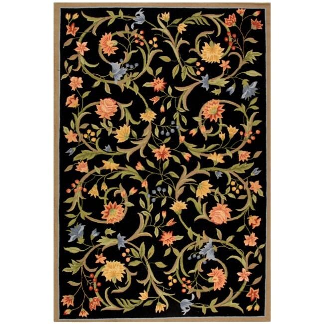 Safavieh Hand-hooked Garden Scrolls Black Wool Rug - 3'9 x 5'9