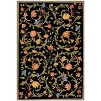 Safavieh Hand-hooked Garden Scrolls Black Wool Rug - 5'3 x 8'3