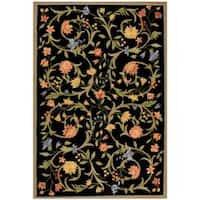 Safavieh Hand-hooked Garden Scrolls Black Wool Rug - 6' x 9'