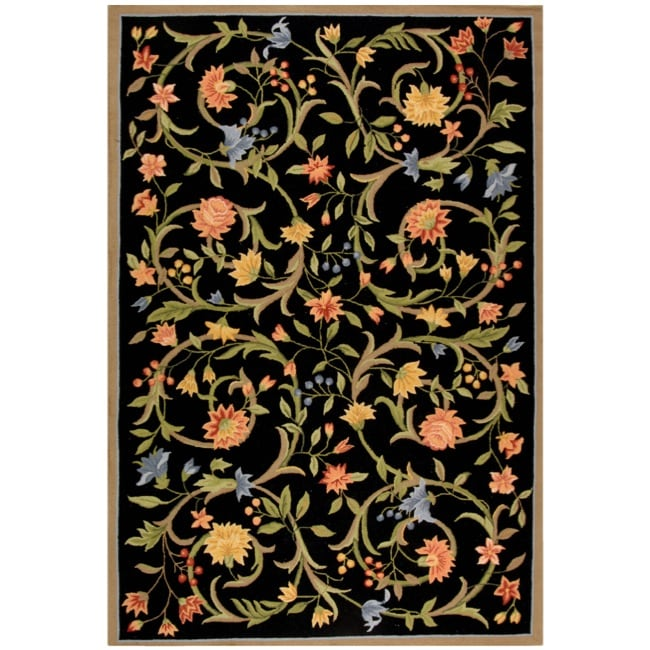 "Safavieh Hand-hooked Garden Scrolls Black Wool Rug - 7'9"" x 9'9"""