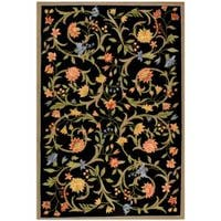 Safavieh Hand-hooked Garden Scrolls Black Wool Rug - 7'6 x 9'9