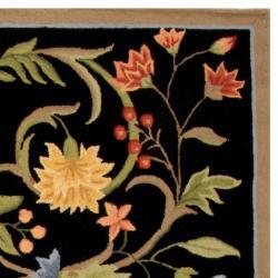 Safavieh Hand-hooked Garden Scrolls Black Wool Rug (8'9 x 11'9) - Thumbnail 1