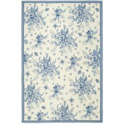 Safavieh Hand-hooked Garden Ivory/ Blue Wool Rug (5'3 x 8'3)