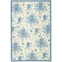 Safavieh Hand-hooked Garden Ivory/ Blue Wool Rug - 6' x 9'